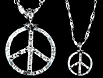 Silver peace sign bling necklace