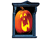 Halloween pumpkin window decorations glow with interior lights