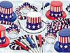 4th of July, Memorial Day and Veterans Day red, white and blue party items, decorations, glow and light ups, paper goods, kits