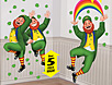 St Patrick's Day decorations and party supplies with shamrocks, leprechauns, Irish clovers