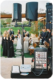 Phoenix DJ Billy James provides a separate sound system and wireless microphones for ceremonies.