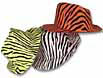Colorful animal print fedoras in assorted colors in packs of 12