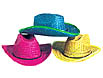 Colorful straw cowboy hats can be purchased by the dozen