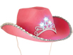 Pink LED cowboy hat for cowgirls to light up the night. Full size pink felt