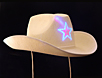 White LED cowboy hat with flashing LED star will add sparkle to your Wild West party