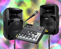 Customized DJ equipment rental packages can include speakers, microphone, mixer