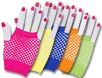 Wrist-length assorted color fishnet gloves