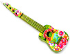 Colorful painted wood ukuleles are perfect props or decorations for your tropical and beach theme parties