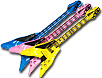 Inflatable 42 inch V guitars in assorted colors